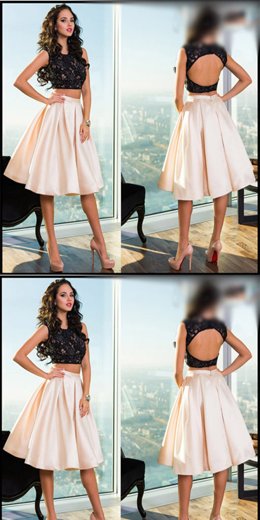 Two piece Black A-line Lace Homecoming Dresses ,Cheap Short Prom Dresses,BDY0224