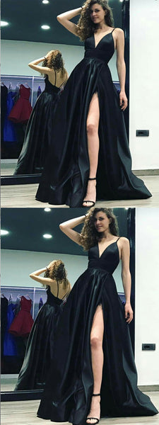 A-Line Spaghetti Straps Floor-Length Black Satin Prom Dress ,Cheap Prom Dresses,PDY0399
