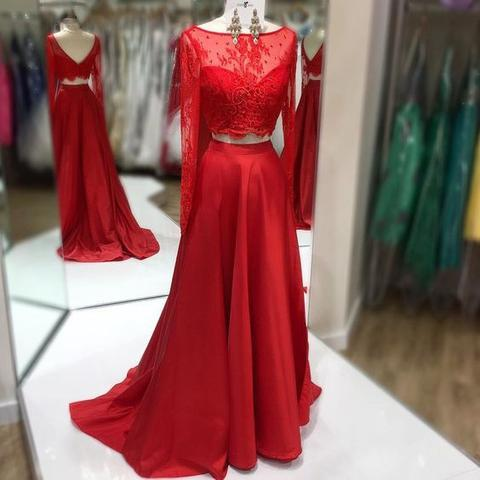 Two Pieces Scoop Neckline Red Lace Long Sleeve Long A-line Satin Prom Dresses, BG0335