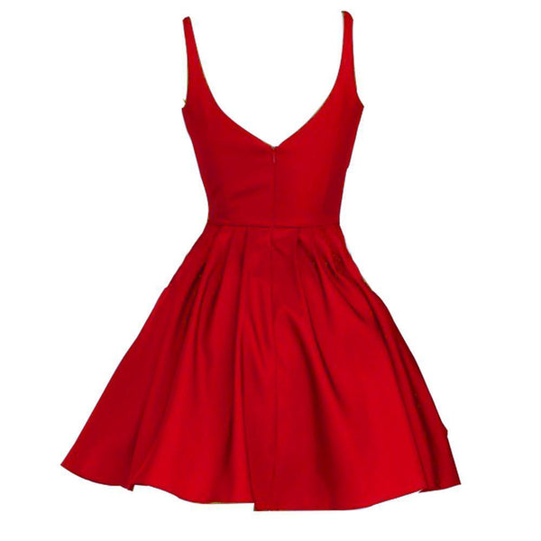 Short Cheap V Neck Simple Red Homecoming Dresses Under 100, CM462