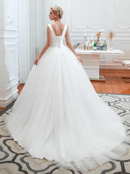 V-neck White Satin Tulle Wedding Dresses, Ball Gown, Lace-up Back Pageant Dress, EPR363