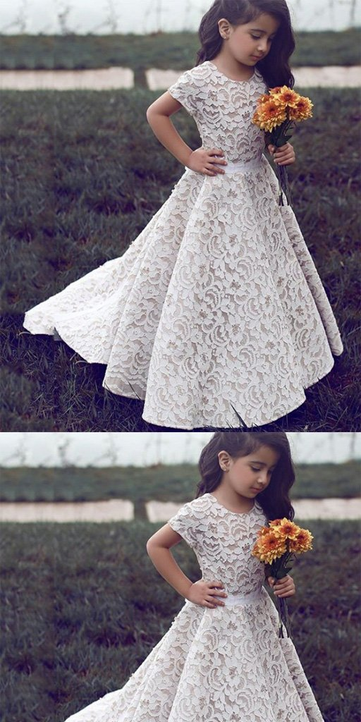A-Line Sweep Train Ivory Lace Flower Girl Dress,Cheap Flower Girl Dresses ,FGY0239