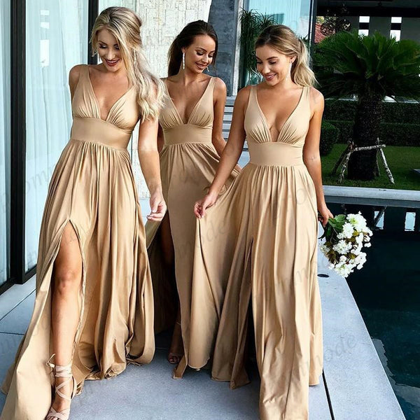 Sexy V-neck Gold Side Slit  Long Bridesmaid Dresses,Wedding Party Gowns,WGY0234