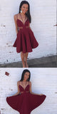 Burgundy Spaghetti Straps A-Line Satin Homecoming Dresses ,Cheap Short Prom Dresses,BDY0225