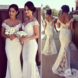 Charming White Long Cap Sleeve Lace Mermaid Sexy Long Bridesmaid Dresses, WGY0134