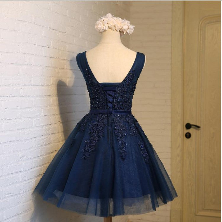 Dark Blue A-line Beaded Lace Homecoming Dresses ,Cheap Short Dresses,BDY0226