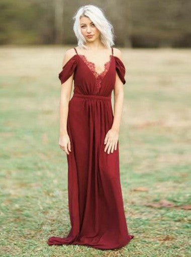 Cheap Sheath Off-the-Shoulder Floor-Length Chiffon Bridesmaid Dress,Wedding Party Dresses,WGY0225
