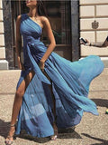 One-Shoulder Blue Chiffon  Prom Dresses,Cheap Prom Dresses,PDY0666