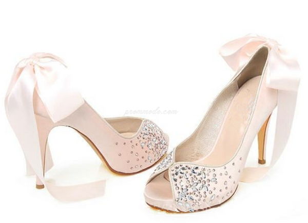 Pink Crystal High Heels Pointed Toe Rhinestone Wedding Bridal Shoes, SY0126