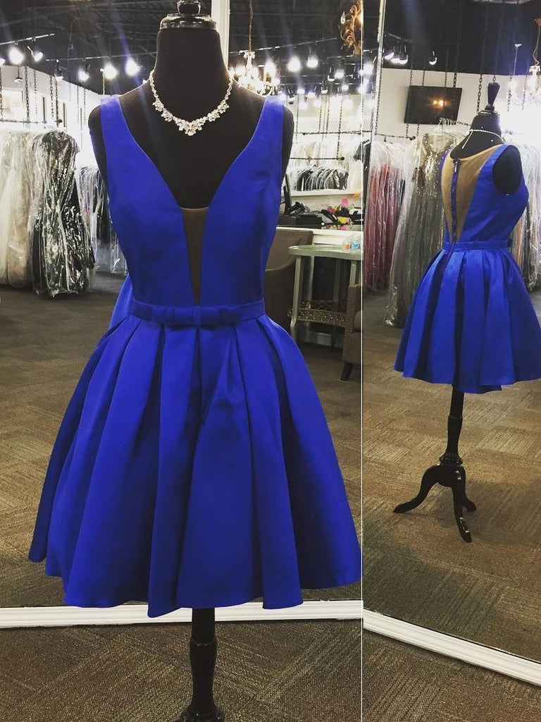 Inexpensive Cute V Neck Royal Blue Short Simple Homecoming Dresses CM464