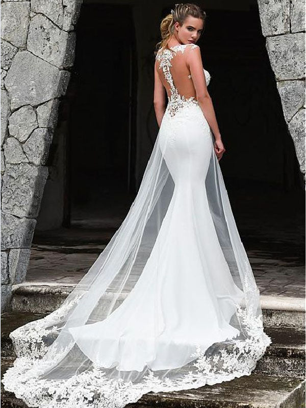 Fashionable White Tulle Mermaid Wedding Dress With Lace Appliques  With  Train,WDY0176