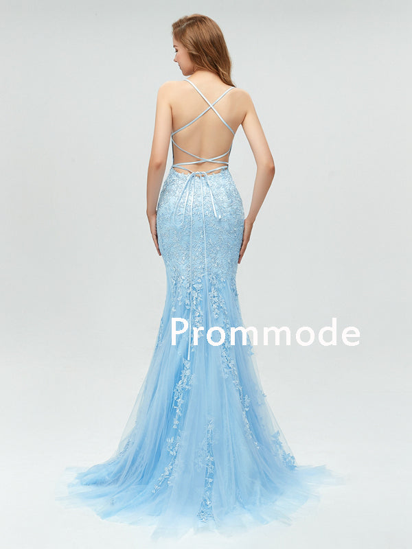 Sexy Backless Blue Lace Mermaid Scoop Long Evening Prom Dresses,Cheap Prom Dresses,PDY0501