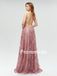 A-line V-neck Pink Lace Evening Dresses ,Cheap Prom Dresses,PDY0591