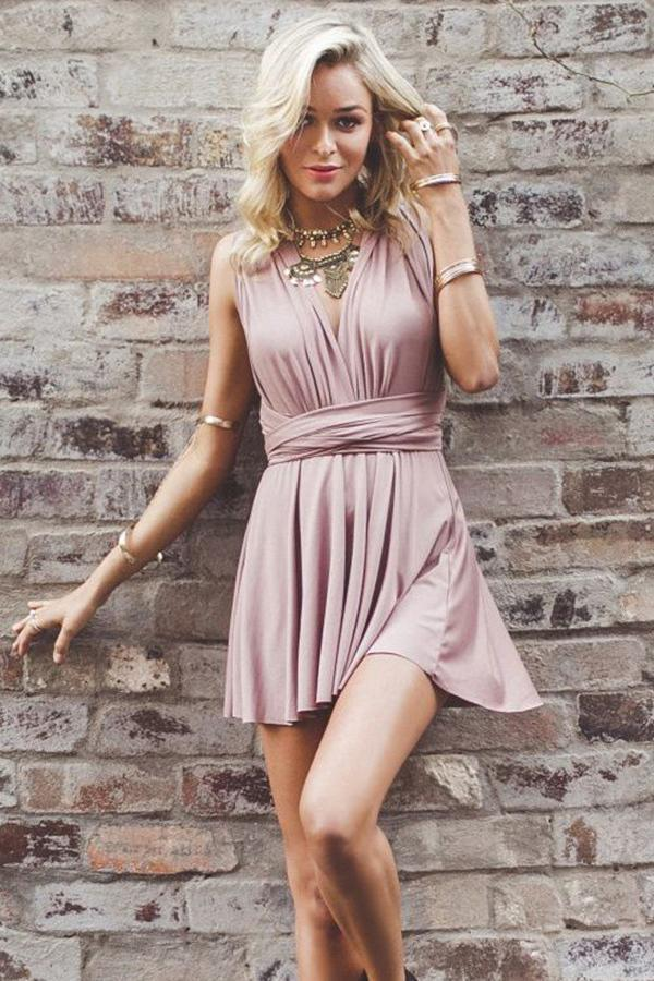 Simple Dusty Pink Sexy Casual Cheap Homecoming Dresses Under 100, CM542