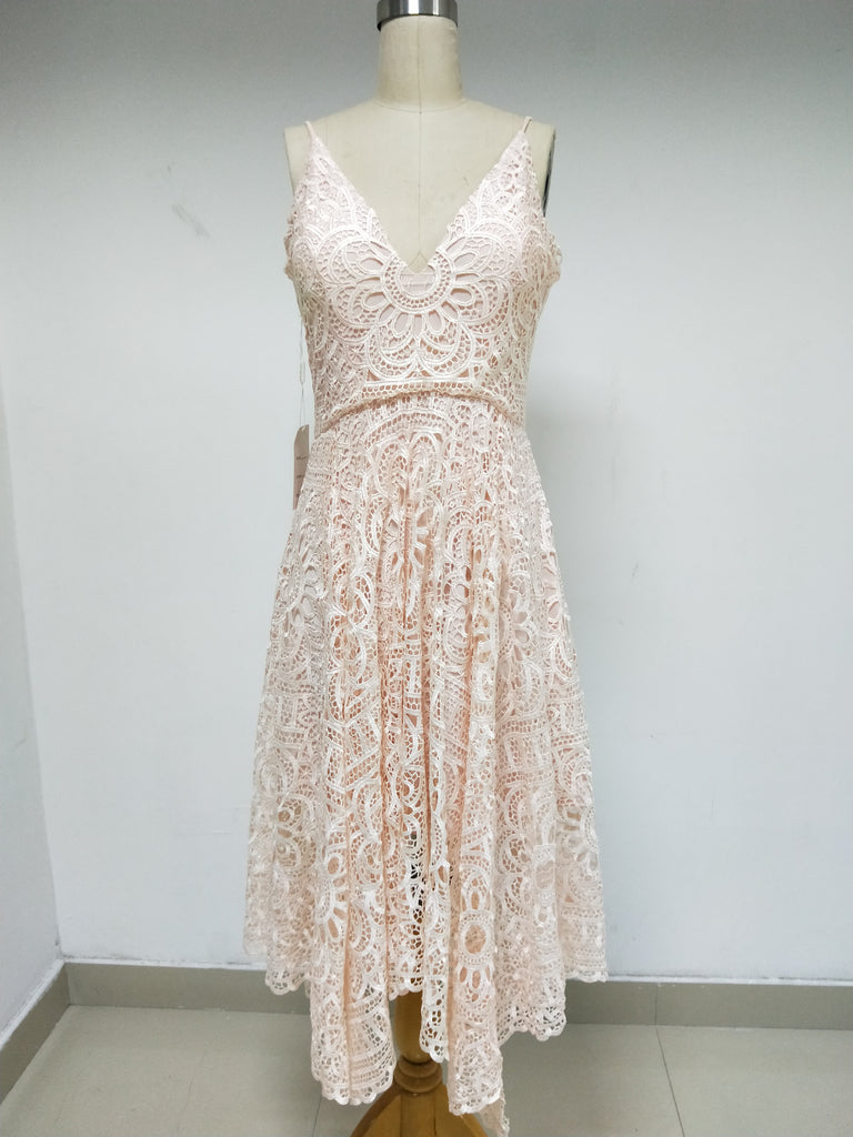 Discount Pink Lace Spaghetti Straps Homecoming Dresses in Size In Stock ,DD1007