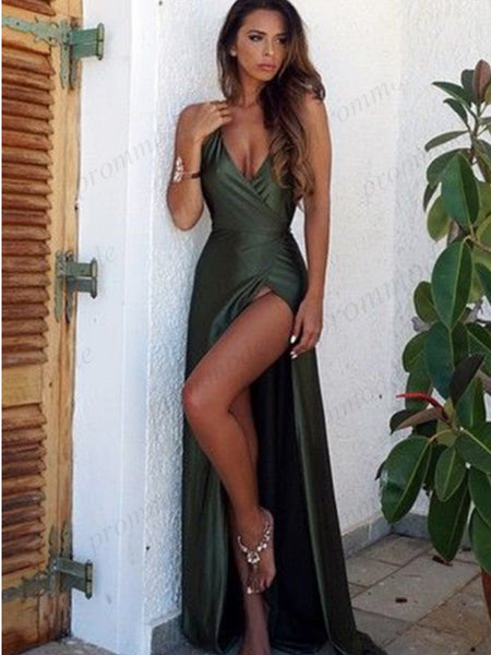 Sexy V-nevk Backless Green Evening Dresses,Cheap Prom Dresses,PDY0571