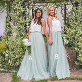 A-Line Two Piece White Lace Green Tulle Bridesmaid Dress,Cheap Bridesmaid Dresses,WGY0205