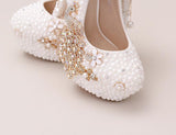 Handmade High Heels Round Toe Pearls Crystal Wedding Shoes, SY0112