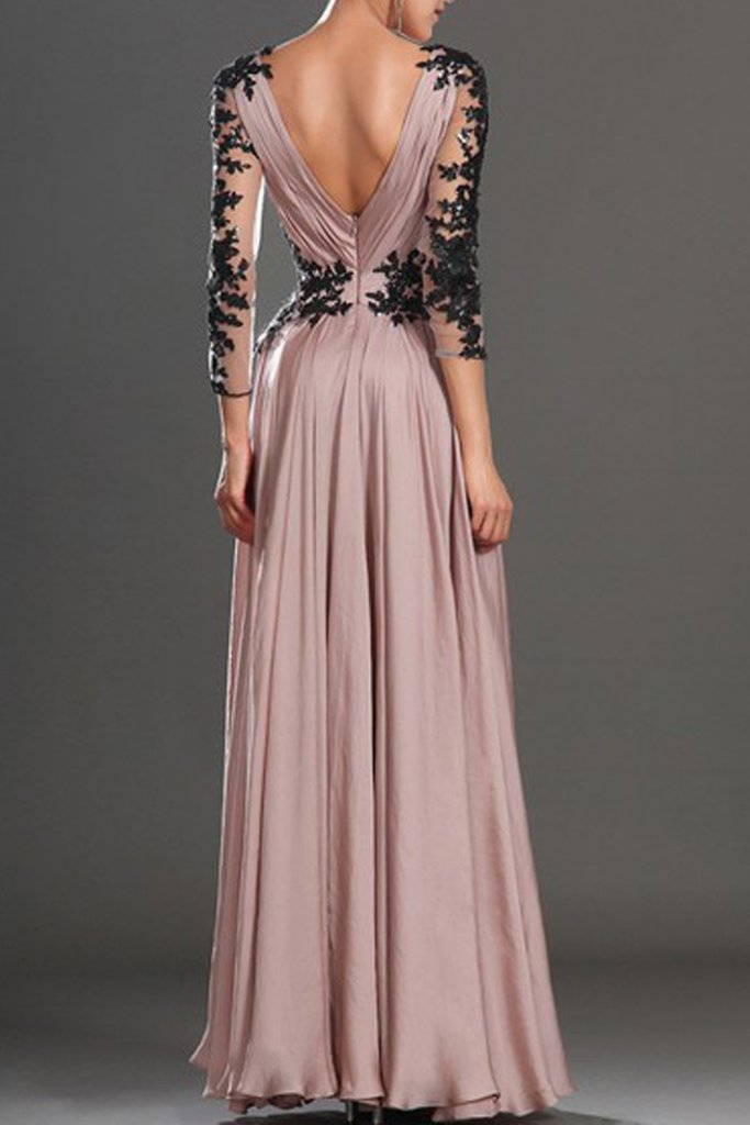V-Neck Long Sleeve Pink Lace Evening Dresses ,Cheap Prom Dresses,PDY0582