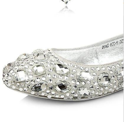 Delicate Crystal Flat Pointed Toe Rhinestone Wedding Bridal Shoes, SY0101