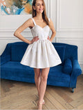 A-Line Straps Short Ivory Satin Homecoming Dress,Short Prom Dresses,BDY0336
