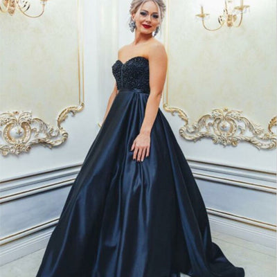 Sweetheart Navy Blue A-line Beaded Long Satin Prom Dress ,Cheap Prom Dresses,PDY0351