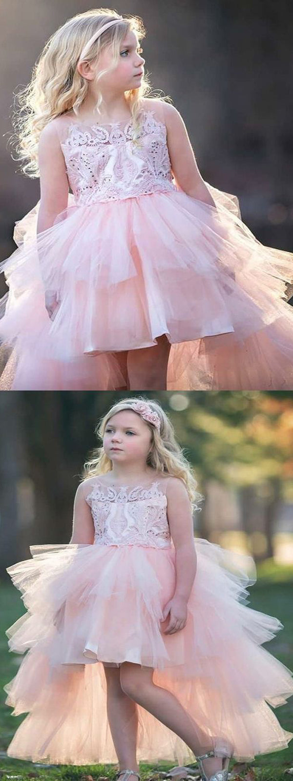 A line round neck hi lo pink tulle flower girl dress with appliques a line round neck hi lo pink tulle flower girl dress with appliques izmirmasajfo