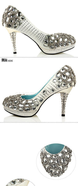 High Heels Handmade Rhinestone Pointed Toe Crystal Wedding Shoes, SY0117