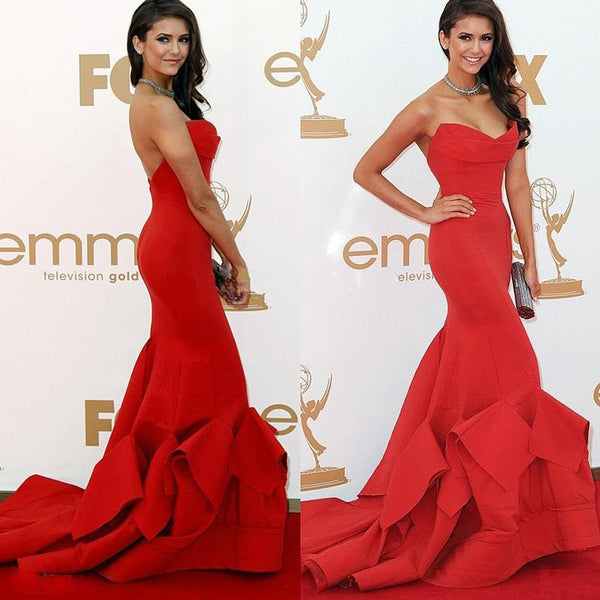 Simple Design Sweetheart Red Long Mermaid Red Carpet Inspired Prom Dresses, BG0306