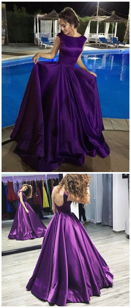 A-line Bateau Long Purple Satin Prom Dresses ,Cheap Prom Dresses,PDY0424