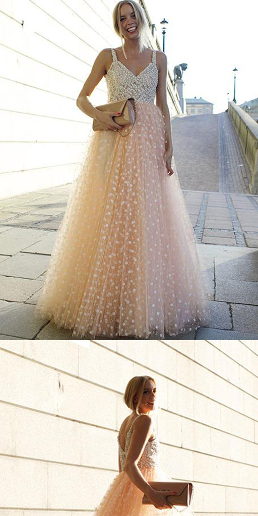 A-line Straps Tulle Pink Long Prom Dress ,Cheap Prom Dresses,PDY0403