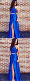 Two Piece Split Royal Blue Lace Prom Dress With Beading,Cheap Prom Dresses ,PDY0367