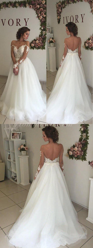 Sweetheart Open Back Sexy A-line White Tulle Lace Long Wedding Party Dresses, WDY0139