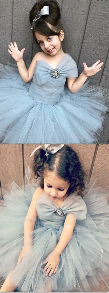 Strapless Grey Tulle Flower Girl Dress with Bowknot ,Cheap Flower Girl Dresses ,FGY0225