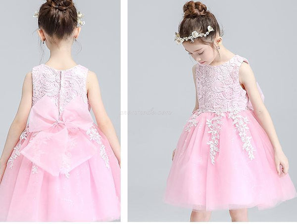 Ivory Round Neck Lace Tulle Flower Girl Dresses, Zip up Cute Little Girl Dresses, FGY0140
