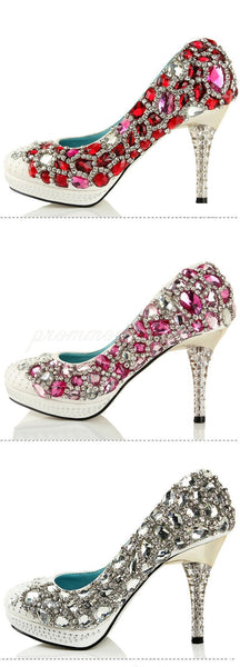 Four Colors Handmade Rhinestone High Heels Pointed Toe Crystal Wedding Shoes, SY0109