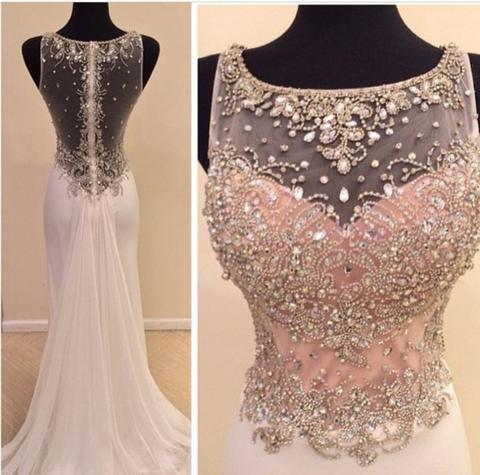 Scoop Neckline Rhinestone Beaded Sheer Top Long Sheath White Chiffon Prom Dresses, BG0313