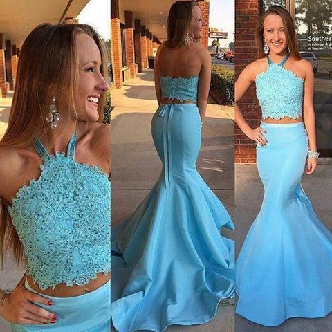 Two Pieces Blue Lace Top Beaded Long Mermaid Jersey Prom Dresses, BG0318