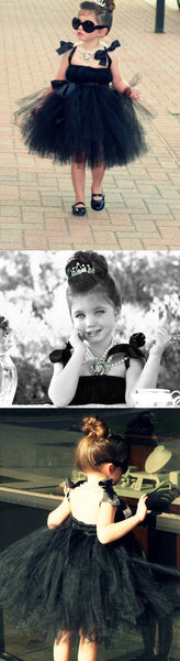 Cool Black Tulle Little Girl Dresses, Affordable Flower Girl Dresses, Little Black Dress, FGY0110