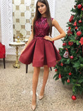 A-Line Burgundy Satin Sequins Homecoming Dress With Sash,Short Prom Dresses,BDY0338