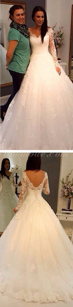 Charming V-Neck Long Sleeve Lace Wedding Party Dresses, Gorgeous Bridal Gown, WDY0118