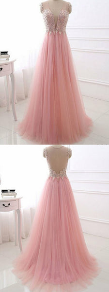 A-Line V-Neck Cap Sleeve Pink Tulle Prom Dress With Sequins,Cheap Prom Dresses, PDY0225