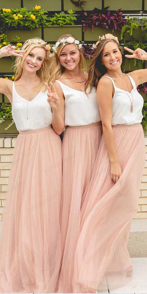 A-line Two Piece Pink Tulle Bridesmaid Dresses,Cheap Bridesmaid Dresses,WGY0381