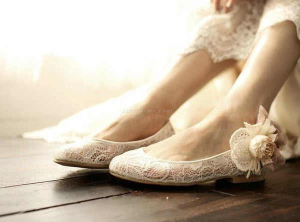 Sweet Princess Lace Pointed Toes Wedding Bridal Shoes With Handmade Flower, SY0138