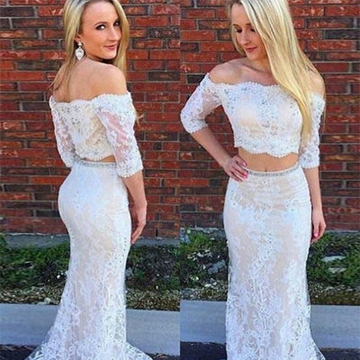 Two Piece Off-the-Shoulder Lace Prom Dress With Beading ,Cheap Evening Party Dress,PDY0274