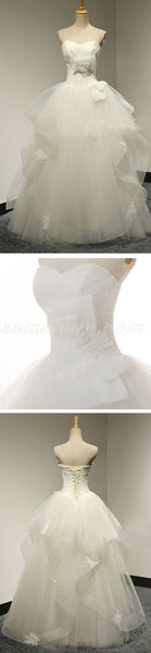 Chic Design Sweetheart White Tulle Wedding Party Dresses With Lace, Lace Up Bridal Gown, WDY0127