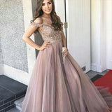 A-Line Off-the-Shoulder Blush Tulle Prom Dress With Beading, Cheap Prom Dresses,PDY0214
