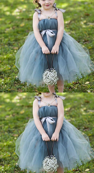 Dusty Blue Pix Tutu Dresses, Tulle Flower Girl Dresses, Cheap Little Girl Dresses for Wedding, FGY0116