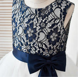 Fashion Lovely Navy  Lace Sleeveless Round Neck  Flower Girl Dresses With Bow Sash, FGY0119