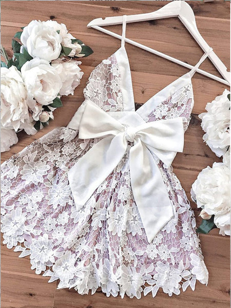 V-neck Spaghetti Straps Short Lilac Lace Homecoming Dresses ,Short Prom Dresses,BDY0317